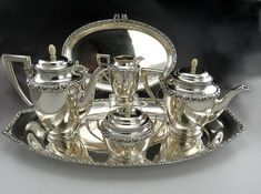 6 Pc Fine Antique German Wilhelm Binder Silver Coffee and Tea Set with Two Trays Silver Tea Set, Vintage Tea, Vintage Kitchen, Sugar Bowls And Creamers, Coffee Staining, Teapots And Cups, Tea Stains, Gold Wash, Tea Service