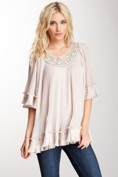 Pleated Ruffle Tunic
