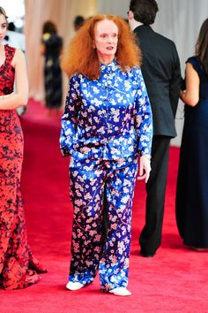 Pin for Later: 16 Ways Grace Coddington Has Made Her Mark on the Fashion Industry She Channeled Last Year's Met Gala Theme in a Pair of PJs The Michael Kors Spy pajamas to be exact.