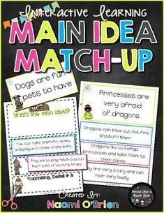 This is an amazingly fun way to give your students practice with main idea and details!!  This match-up game allows you to see if your students can truly analyze supporting details and match them to the correct main ideas!!  There are so many ways to differentiate this game for the different needs in your classroom too!