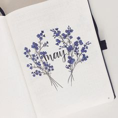Joyce on Full view of my May cover page It takes forever to draw the details of forget-me-nots but its definitely worth it! What should I post Bullet Journal Cover Ideas, Bullet Journal Writing, Bullet Journal Month, Bullet Journal Banner, Bullet Journal Aesthetic, Bullet Journal Notebook, Bullet Journal Spread, Bullet Journal Layout, Bullet Journal Inspiration