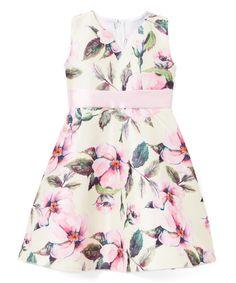Tan & Hot Pink Floral A-Line Dress - Infant, Toddler & Girls