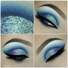 blue glitter cut crease + winged liner | makeup @makeupbyan