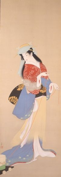 下写真:上村松園 『汐くみ』 昭和16年(1941) 岡田美術館。