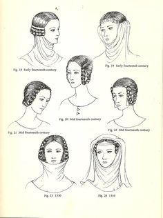Plantagenet Hair Styles and the dates of roughly when they were popular at court.