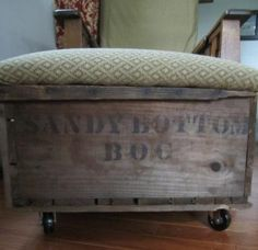 storage ottoman, bench, stool, vanity seat, reupholster, inspiration