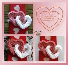 www.crochetmemories.com/blog Free pattern for a Valentine double hearts napkin ring...Another great idea for jewelry!!