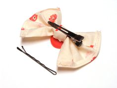 Girls Hair Bow Floral Bow for Women Cream Coral by ChatterBlossom, $8.00