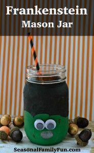Frankenstein Mason Jar #HalloweenCrafts #MasonJarCrafts