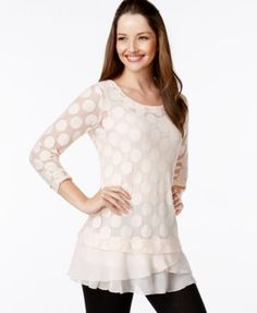 Style & Co. Circle-Print Tiered-Crepe Hem Tunic, Only at Macy's-Deep Black,Industrial Blue,Pink Bliss,Truffle,Vintage Cream-$36.99