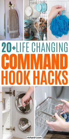 Mind Blowing Command Hook Hacks That'll Change Your Life These command hook hacks really are genius! Use these command hook ideas to transform your home's storage. Command hooks are super cheap and useful to have around the house! Organisation Hacks, Organizing Hacks, Storage Hacks, Diy Storage, Bathroom Organization, Cleaning Hacks, Travel Trailer Organization, Dollar Tree Organization, Camper Storage