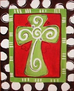 Cute cross canvas paint idea for wall decor. Canvas painting. Wall art. Merry Christmas. Winter. Red, green, black and white. Polka dots.