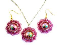 Darling Dahlias Pendant & Earrings Beading Pattern at Sova-Enterprises.com