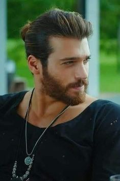 Yaman in Early Bird Turkish Men, Turkish Actors, Boys Long Hairstyles, Beard Lover, Hot Actors, Man Bun, Good Looking Men, Bearded Men, Gorgeous Men