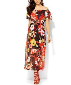 New York & Company Black Floral Flounce Off-Shoulder Dress | zulily