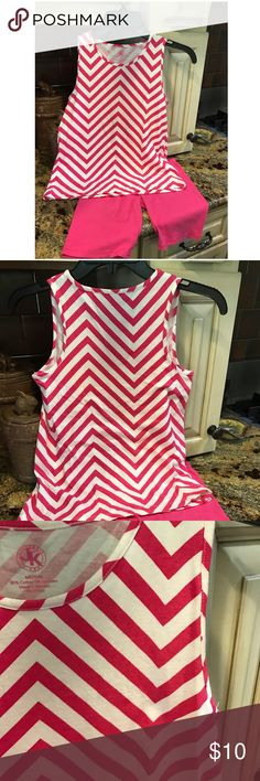 Girl's 2pc short set Girl's hot pink chevron long loose tank with hot pink, matching, long shorts. EUC. No fading....washed in Woolite. J. Khaki  Matching Sets