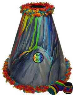 re-loadable, erupting volcano pinata that you hit with a hacky-sack to trigger! whoa.