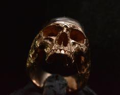18 kt. rose gold Skull ring Mid size half jaw silver mens skull biker masonic…