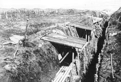 German trenches on Hawthorn Ridge in the spring of 1916; their depth is particularly noticeable in this photograph.