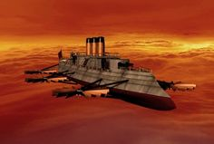 Steampunk Flying Ironclad by ~DeviantKaled on deviantART. #steampunk #steampunkart http://www.pinterest.com/TheHitman14/artwork-steampunked/