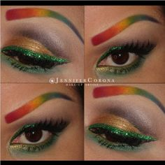 Jennifer Corona celebrated St. Patricks Day with rainbow Sugarpill brows and Goldilux eyeshadow on her lids! Paaarty tiiiime!