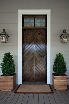 Wood Front Door Urn Planters Brass Carriage Lanterns Stone Wall Curb Appeal Pinterest