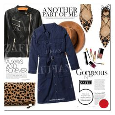 """Denim Shirt Dress"" by vanjazivadinovic ❤ liked on Polyvore featuring Clare V., Salvatore Ferragamo, women's clothing, women's fashion, women, female, woman, misses, juniors and polyvoreeditorial"