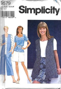 Simplicity 9579 Misses Separates Sewing Pattern, Vest, Pullover Top And Split Skirt Or Shorts, XS-M, UNCUT by DawnsDesignBoutique on Etsy