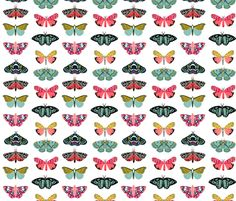moths and butterflies cute girly pastel insect butterfly spring garden fabric by andrea_lauren on Spoonflower - custom fabric