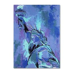 This ready to hang, gallery-wrapped art piece features the Statue of Liberty at night. American impressionist Richard Wallich has spent more than 30 years honing his painting talents. He studied paint