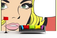 Pop Art Woman Wall Mural | MuralsWallpaper.co.uk