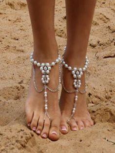 57a45fd5327529 Pretty Bohemia Footchain Accessories Barefoot Sandals Wedding