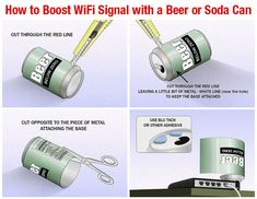 How to Boost a WiFi Signal with a Soda or Beer Can! It works for larger homes too.
