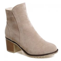 30.58$  Watch now - http://dixb7.justgood.pw/go.php?t=165848730 - Fashionable Suede and Chunky Heeled Design Short Boots For Women 30.58$