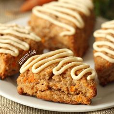 Carrot Cake Scones with Cream Cheese Frosting (100% whole grain, dairy-free) - Texanerin Baking