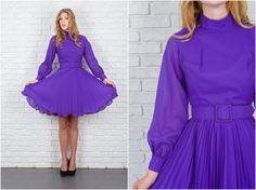 Vintage 60s Purple Mod Dress Full Pleated Long Sleeve High Collar XS S 5718 vintage dress 60s dress purple dress mod dress full dress by thekissingtree on Etsy https://www.etsy.com/listing/252931411/vintage-60s-purple-mod-dress-full