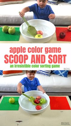 Your two-year-old will love this scoop and sort game! Helps build gross motor strength, along with color classification and hand-eye coordination. activities for 4 year olds Apple Scoop and Sort Fall Crafts For Toddlers, Lesson Plans For Toddlers, Indoor Activities For Toddlers, Apple Activities, Activities For 2 Year Olds, Motor Skills Activities, Sorting Activities, Preschool Learning Activities, Sensory Activities