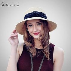 f95a32f6 Sedancasesa fashion seaside sun visor hat female summer sun hats for women  wide brim straw sun hat foldling beach girls