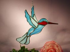 Stained Glass Suncatcher Hummingbird with by StainedGlassbyWalter