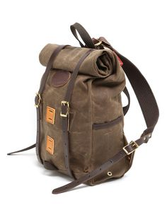 Wax canvas roll-top backpack
