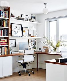 We wouldn't mind setting up shop in this chic home office! Tour the rest of this stylish abode, search 'traditional meets contemporary condo' on styleathome.com {Photo: @staceysnaps   Design: @loriharrisondesign}