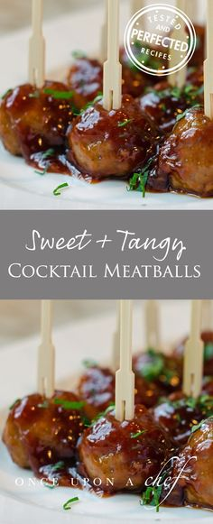 Throw away those old kitschy cocktail meatball recipes that call for grape jelly and frozen meatballs these are easy-to-make and so much better. You'll love that the meatballs are baked, not fried, and the sweet and tangy sauce is ready in under 15 minu Meatball Recipes, Beef Recipes, Cooking Recipes, Meatball Sauce, Appetizer Dips, Appetizer Recipes, Heavy Appetizers, Appetizer Party, Dining