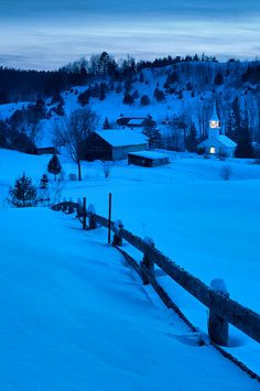 Blue hour in winter, Village of East Corinth, Vermont