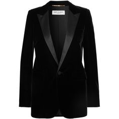 Saint Laurent Satin-trimmed velvet tuxedo blazer ($2,580) ❤ liked on Polyvore featuring outerwear, jackets, blazers, blazer, black, shoulder pad jacket, velvet jacket, smoking jacket, peaked lapel blazer and velvet tux jacket