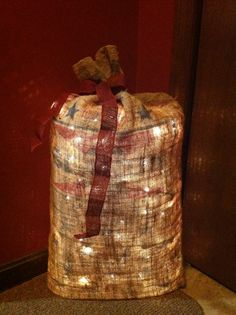 Real burlap grain bag, little bit if chicken wire. Just add lights and you have country charm.