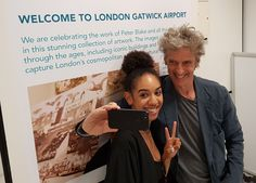 Doctor Who's Peter Capaldi and Pearl Mackie snap an adorable selfie as they jet back into London - DigitalSpy.com