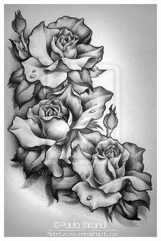 55 best rose tattoos designs - best tattoos for women Future Tattoos, New Tattoos, Body Art Tattoos, Sleeve Tattoos, Skull Tattoos, Tatoos, Rose Drawing Tattoo, Tattoo Sketches, Tattoo Drawings