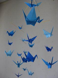 Origami Crane Mobile  Blue by makikomo on Etsy
