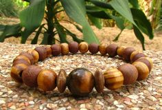 Tiger Eye Coconut & Wooden Beaded Mala Style by cainersbliss