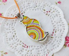 Colorful Cat Necklace, Clay Filigree Necklace, Multicolor Jewelry, Cute animal jewelry, Best gift for her, OOAK Jewelry, Unique jewelry  Super colorful